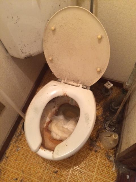 札幌市北区 孤独死 トイレ清掃前