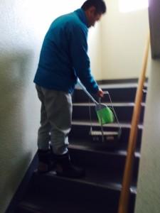 作業後の階段清掃