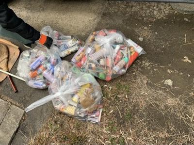 分別した危険物類 70ℓゴミ袋3袋分