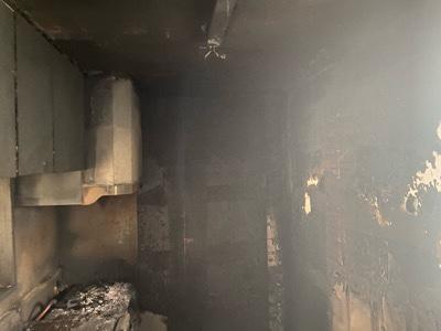 火災で黒くなった室内 北海道