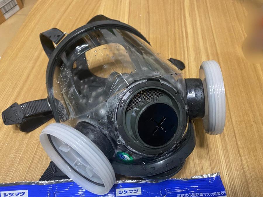 丸洗い後のフルフェイスマスク